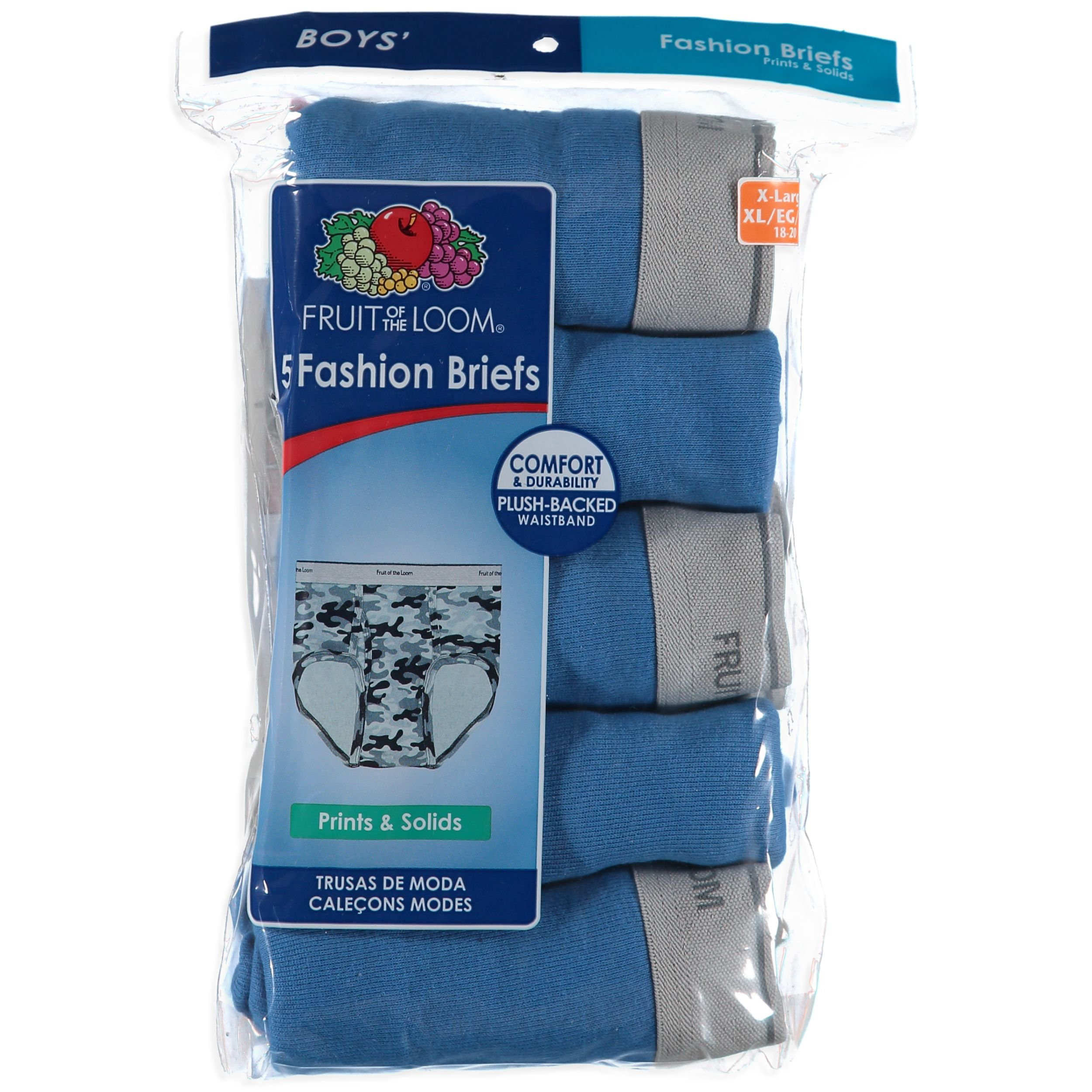 Fruit of the Loom Big Boys' Assorted Fashion Brief - 5 Pack - Light Blue - X-Large