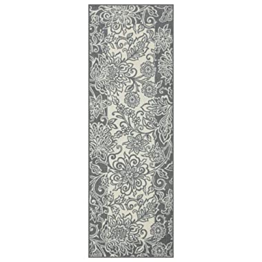 Maples Rugs Runner Rug - Adeline 2 x 6 Non Skid Hallway Entry Rugs Runners [Made in USA] for Kitchen and Entryway, Grey/Neutral