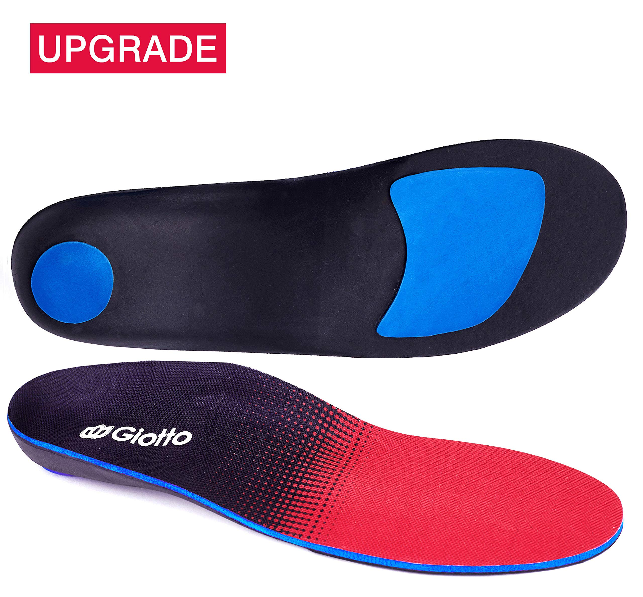 Giotto Plantar Fasciitis Flat Feet Orthotic High Arch Support Inserts Insoles Relieve Pronation Heel Ankle Foot Pain for Women Men-Black/Red-9