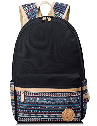 Leaper Casual Canvas Laptop Bag Cute School Backpack (Black2[A3])