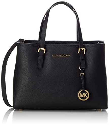 MICHAEL Michael Kors Jet Set Travel Medium East West Tote in Black Leather