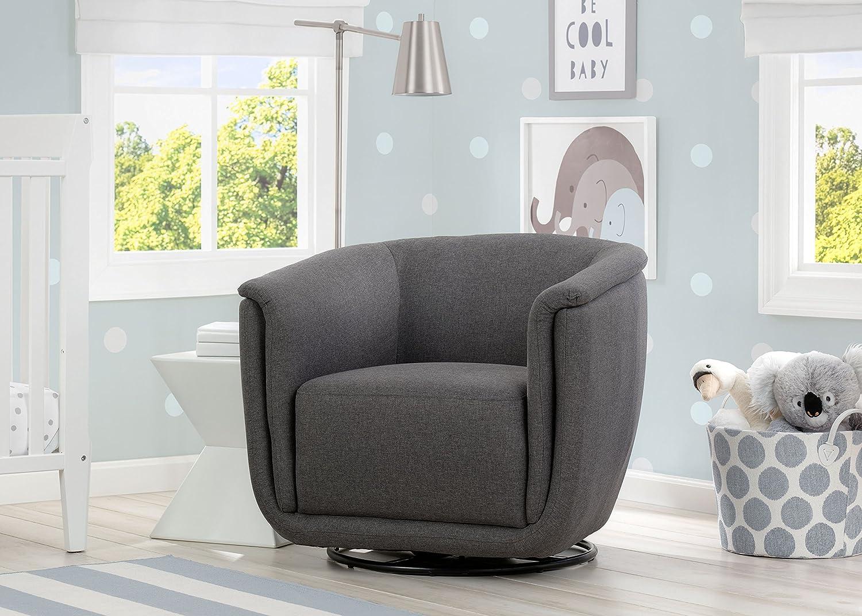 Delta Children Skylar Nursery Glider Swivel Rocker Tub Chair, Charcoal Grey