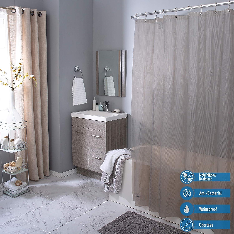 Elle Décor Pinstripe 4 Gauge PEVA Shower Curtain Liner, Anti-Bacterial, Magnet Weighted Hem, Rust Proof Metal Grommets, Mildew & Mold Resistant, Grey