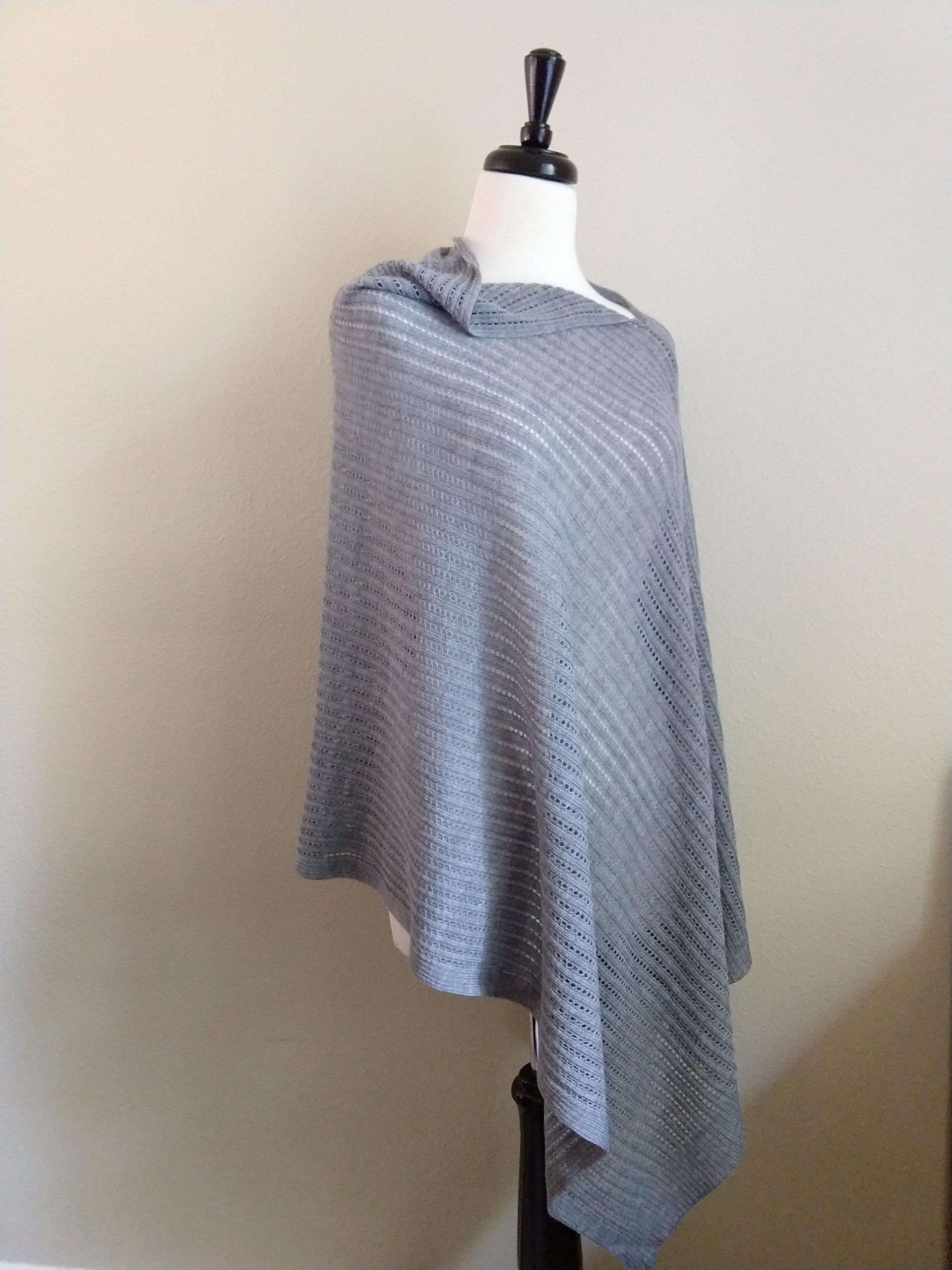 Airy Poncho, Women's Tall, Mesh Poncho, Summer Wrap, Gray