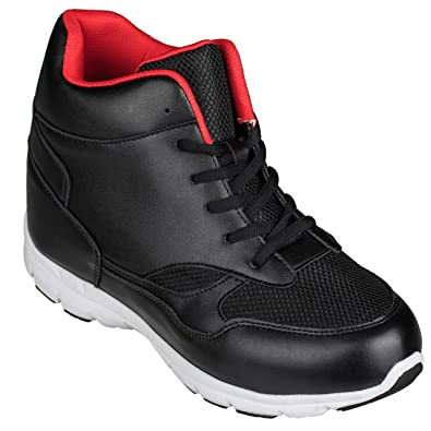 size 40 365d4 c641a CALTO Men's Invisible Height Increasing Elevator Shoes - Black/Red  Leather/Mesh Lace-up Sporty Trainers - 4 Inches Taller - G3332
