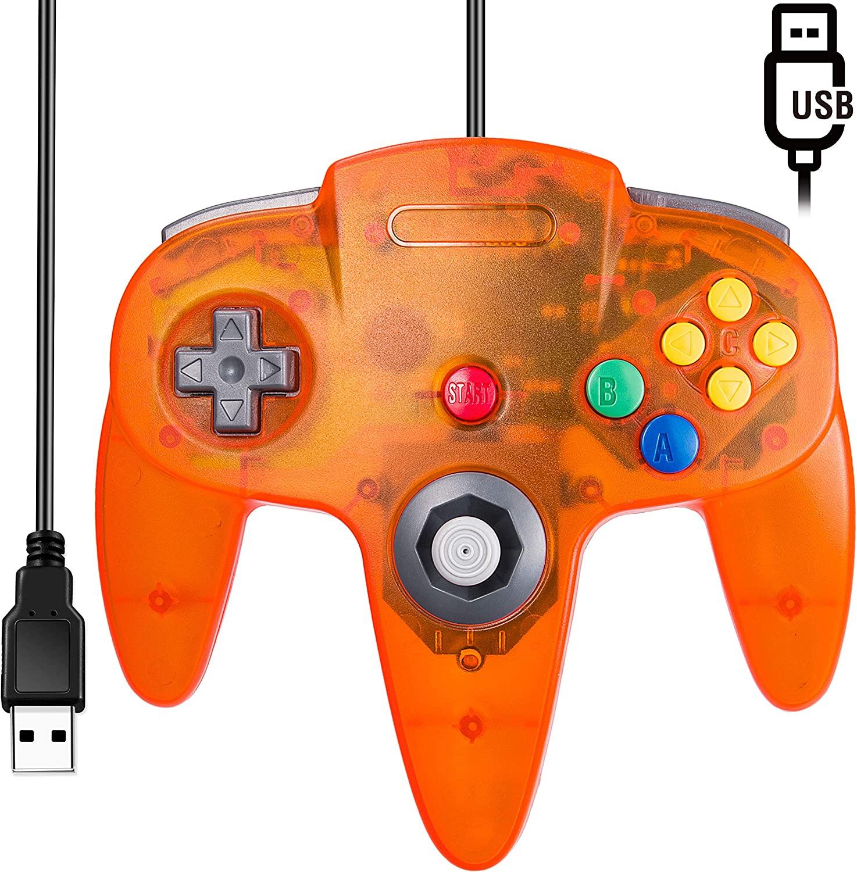 [USB Version] Classic N64 Controller, SAFFUN N64 Wired USB PC Game pad Joystick, N64 Bit USB Wired Game Stick for Windows PC MAC Linux Genesis Raspberry Pi Retropie Emulator [Plug & Play] (Orange)