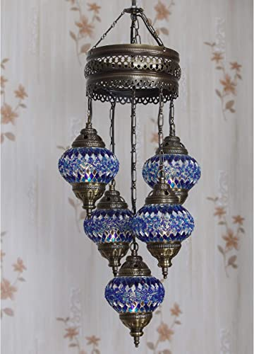 LaModaHome 40 Unique Colors, 2020 Customizable Chandelier 5 Globes Free 5 Bulbs, Stunning Mosaic Turkish Lamp Moroccan Light US Tiffany Lighting Ceiling Hanging Pendant Fixture Large Hardwired