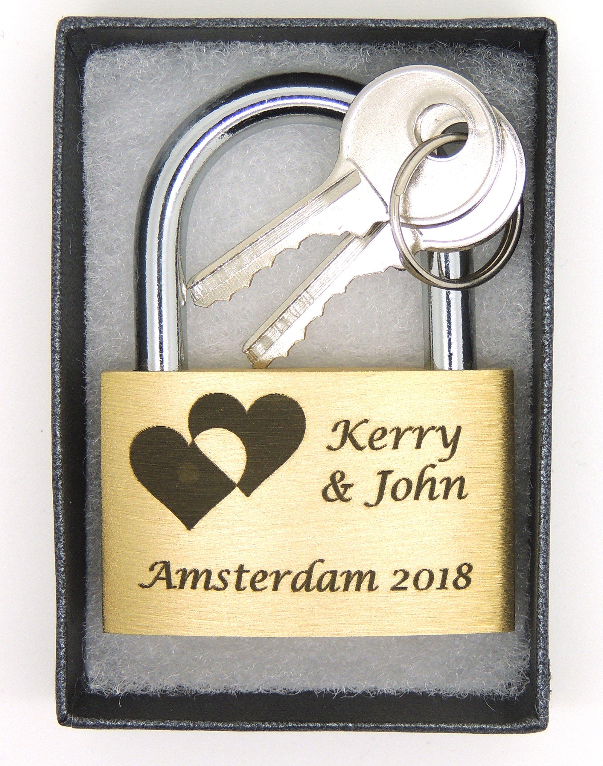 40mm. Both sides engraved padlock. Gift box