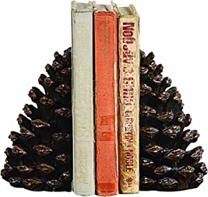 Creative Co-op Pinecone Shaped Resin (Set of 2 Pieces) Bookends, Bronze, 2 Count