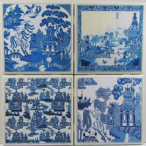 Amazon Com Ceramic Coaster Blue Willow Set Of 4 Custom Made To Order Check Out More Designs By Typing In Perfect Company We Carry Personalized