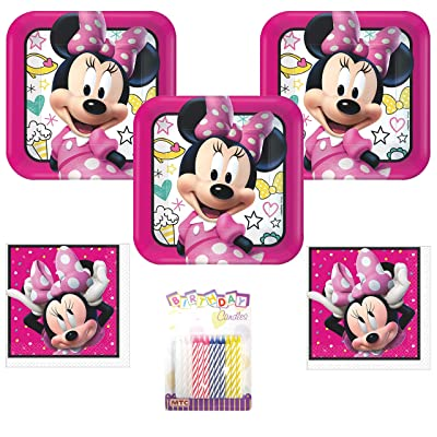 """Minnie Mouse Happy Helpers Party Supplies Pack Serves 16: 9"""" Plates and Luncheon Napkins with Birthday Candles (Bundle for 16): Toys & Games"""