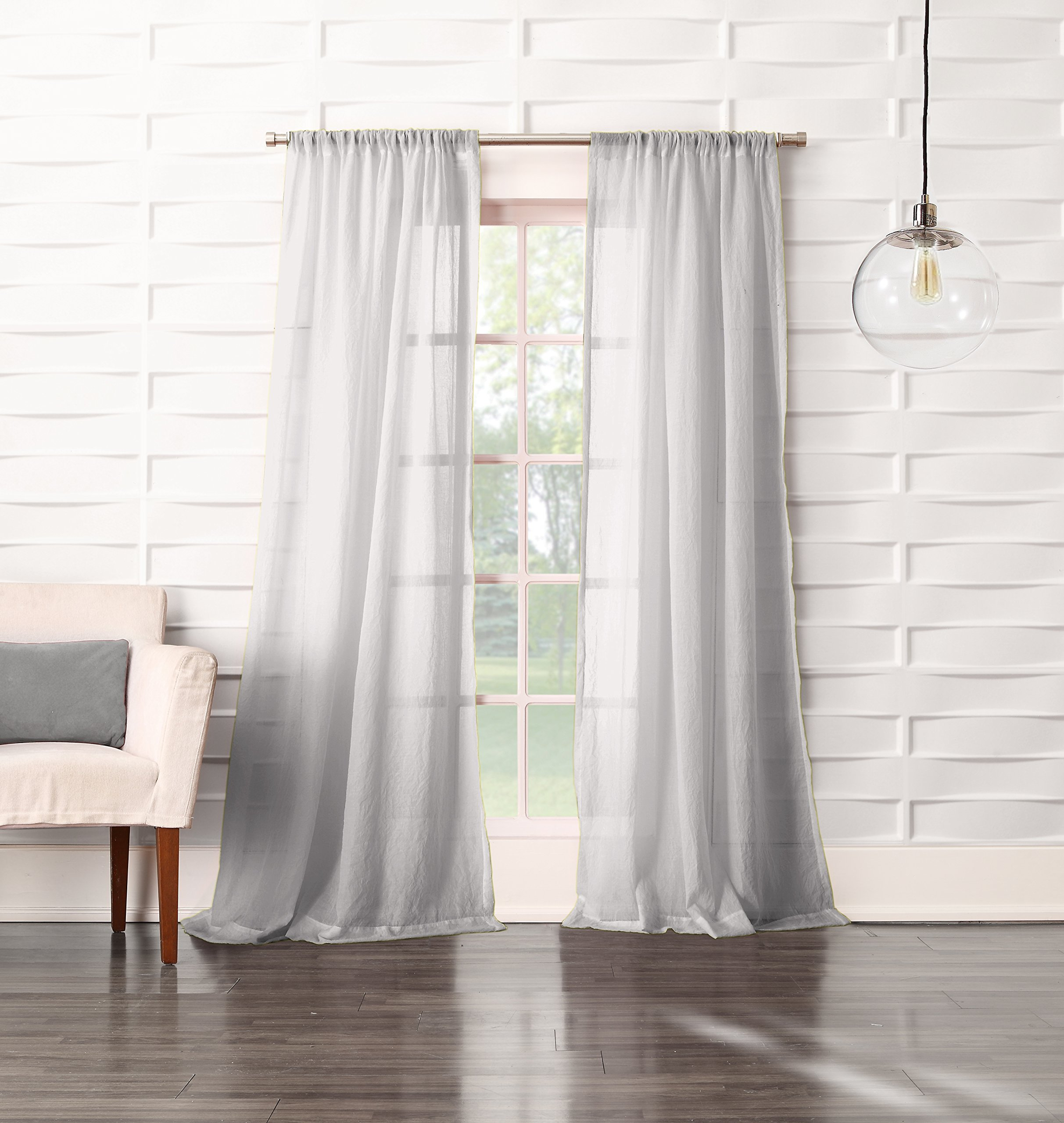 "No. 918 Tayla Crushed Sheer Voile Rod Pocket Curtain Panel, 50"" x 63"", Gray - Soft linen-like crushed texture Gently filters light while enhancing privacy Rod pocket design allows for easy hanging on a standard curtain rod - living-room-soft-furnishings, living-room, draperies-curtains-shades - 91WUahs1%2BCL -"