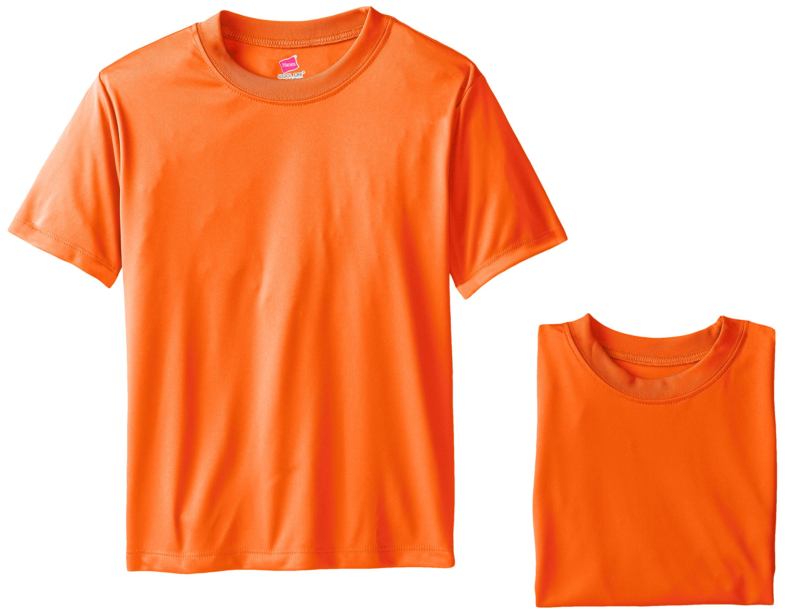Hanes Big Boys' Cool DRI Performance T-Shirt Pack of 3, Safety Orange, Large