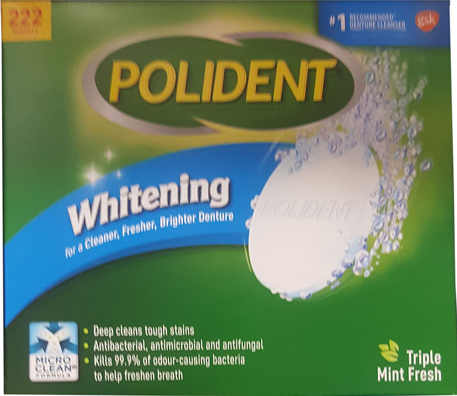 Polident Whitening Denture Cleanser, 222 Count