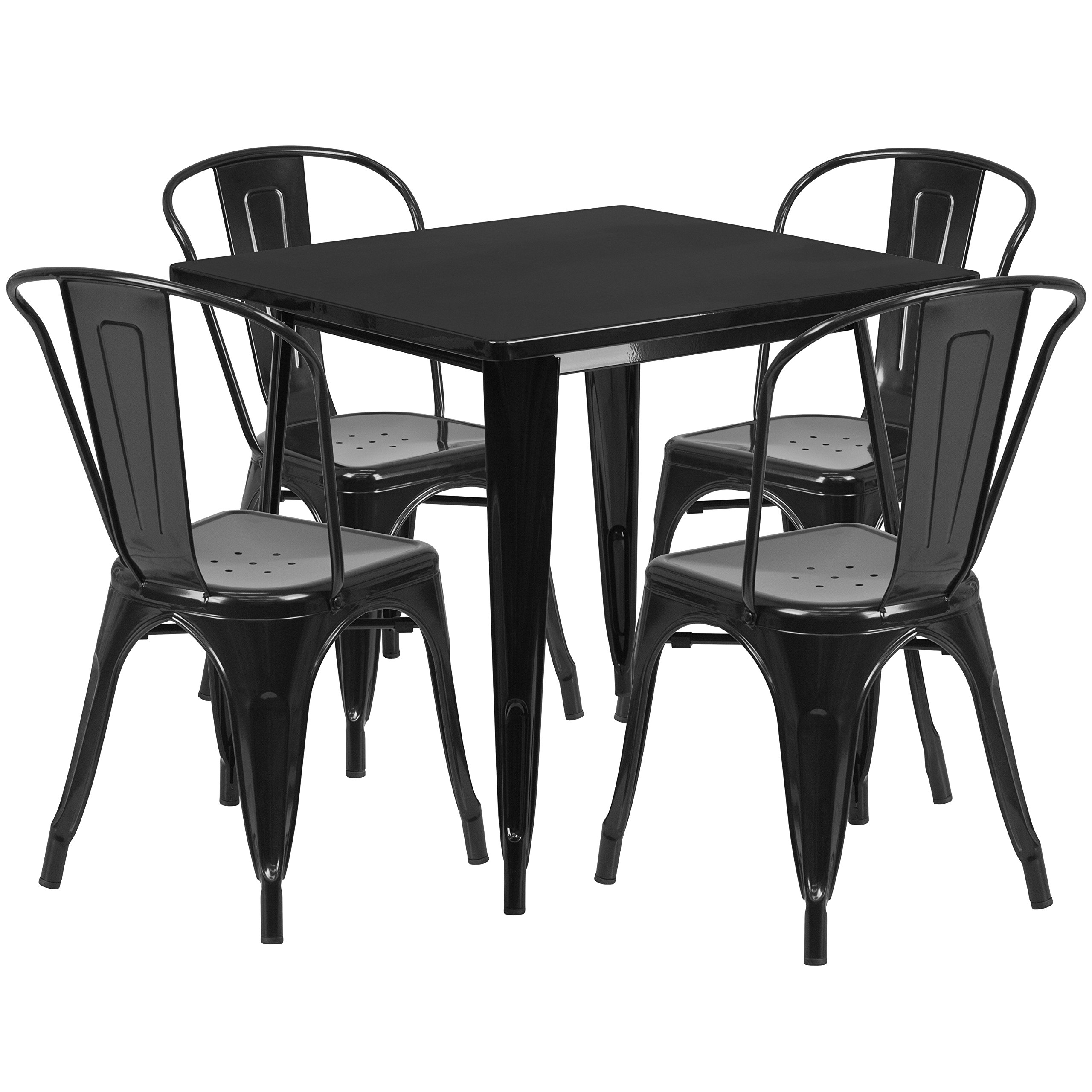Flash Furniture 31.5'' Square Black Metal Indoor-Outdoor Table Set with 4 Stack Chairs