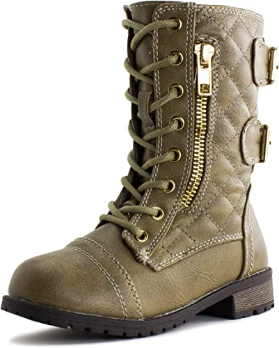 UBELLA Boys Girls Kids Outdoor Side Zipper Lace-Up Leather Winter Snow Ankle Boots