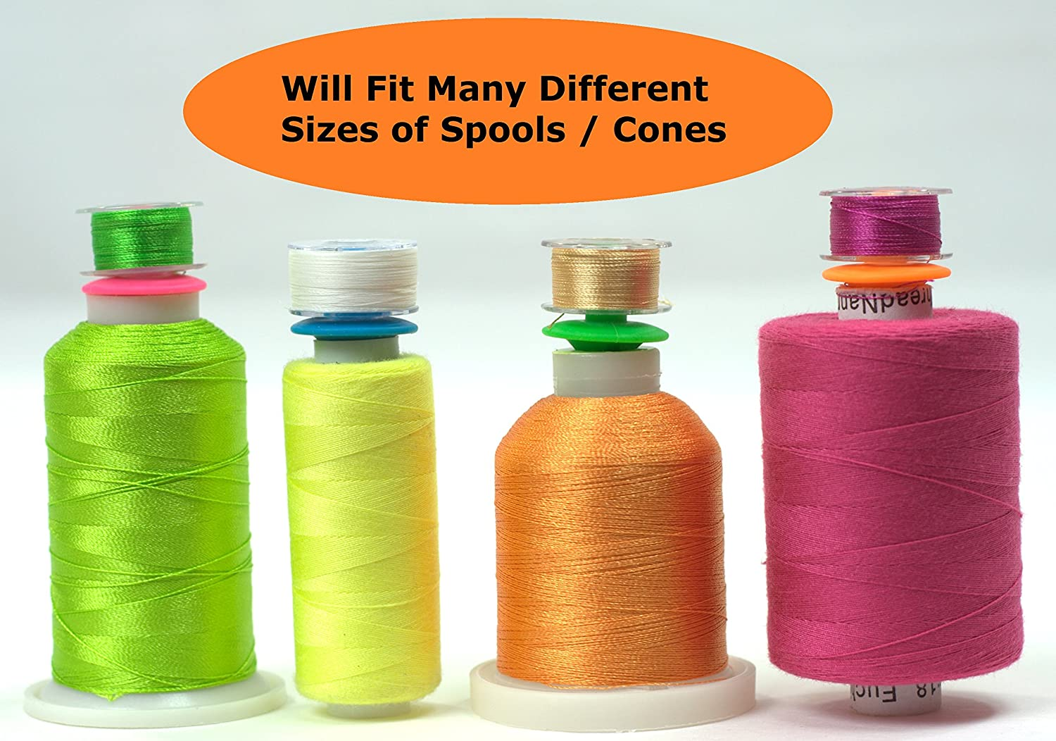 Silicon Bobbin Holder for Thread spools 48 Pieces for Spool Tops fits L M /& A Type bobbins for Sewing Quilting /& Embroidery Bobbini