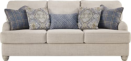 Benchcraft – Traemore Casual Upholstered Sofa with Recessed Arms – Linen