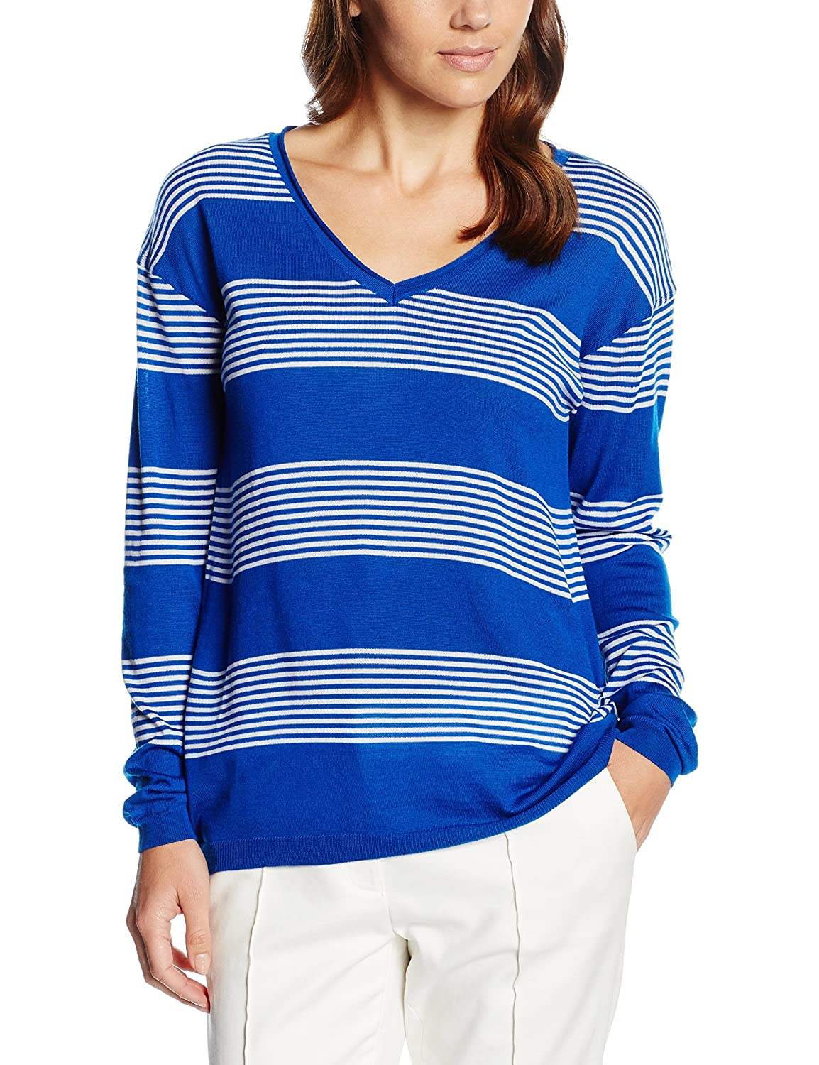 GANT Damen Pullover Women's Merino Wool Striped V-Neck Jumper