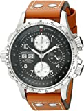 HAMILTON MEN'S KHAKI X-WIND AUTOMATIC 44MM BROWN LEATHER BAND WATCH H77616533