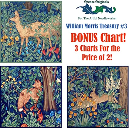 William Morris/'s Arts /& Crafts Forest Deer Counted Cross Stitch Pattern