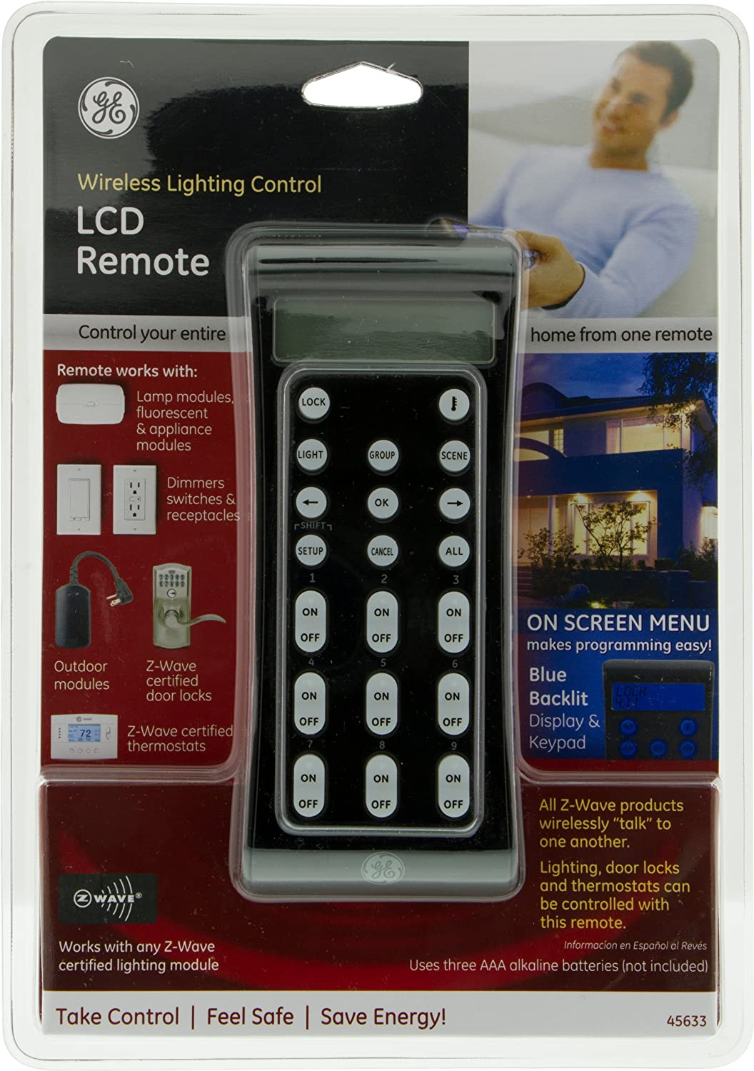 ge 45631 wave wireless lighting. ge 45633 zwave wireless lighting control advanced remote with lcd and lock modules amazon canada ge 45631 wave v