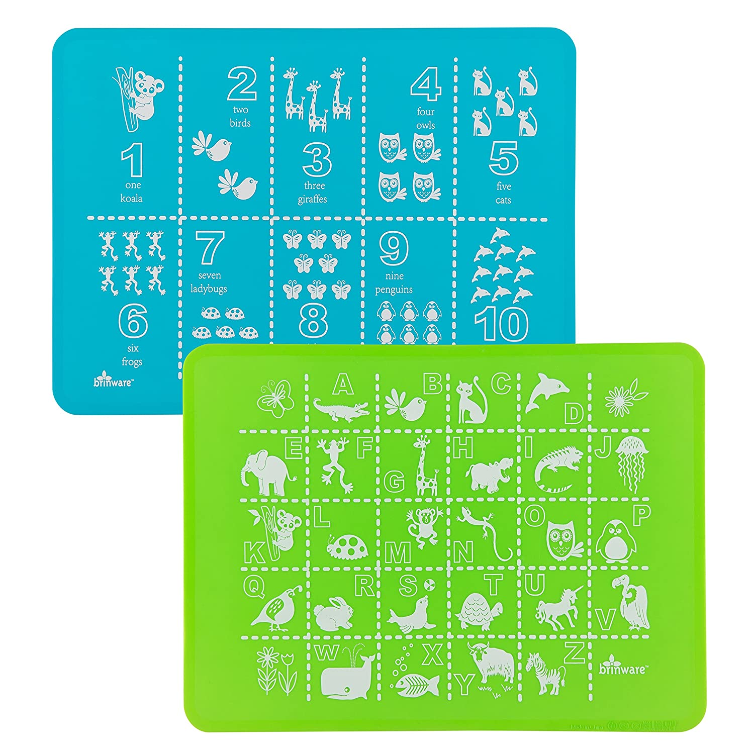 Amazon.com : Brinware Placemat Set - ABC & 123 - Blue/Green : Baby