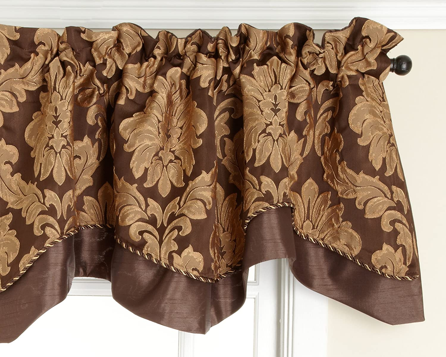 Renaissance Home Fashion Cooper Lined Scalloped Valance with Cording, Chocolate, 50 by 17-Inch Stylemaster Home Products