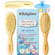 4 Piece Baby Hair Brush Set, Baby Boy Gifts with Natural Hair Products: Baby Brush, Cradle Cap Brush and Baby Comb Baby Essentials or Baby Registry for Baby Shower Gift Set for Newborn or Toddler