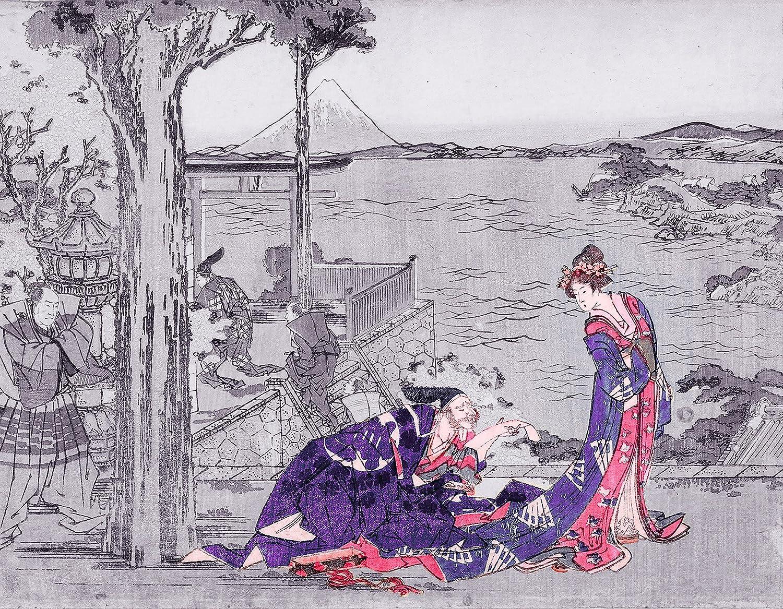 ArtVerse HOK084A2228A Japanese Courtesan in Indigo Wood Block Print Removable Art Decal 22 x 28 RetailSource Ltd