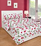BSB HOME® Cotton Double Bedsheet for Double Bed 120 Tc with 2 Pillow Cover Set 3D Printed Pattern-White