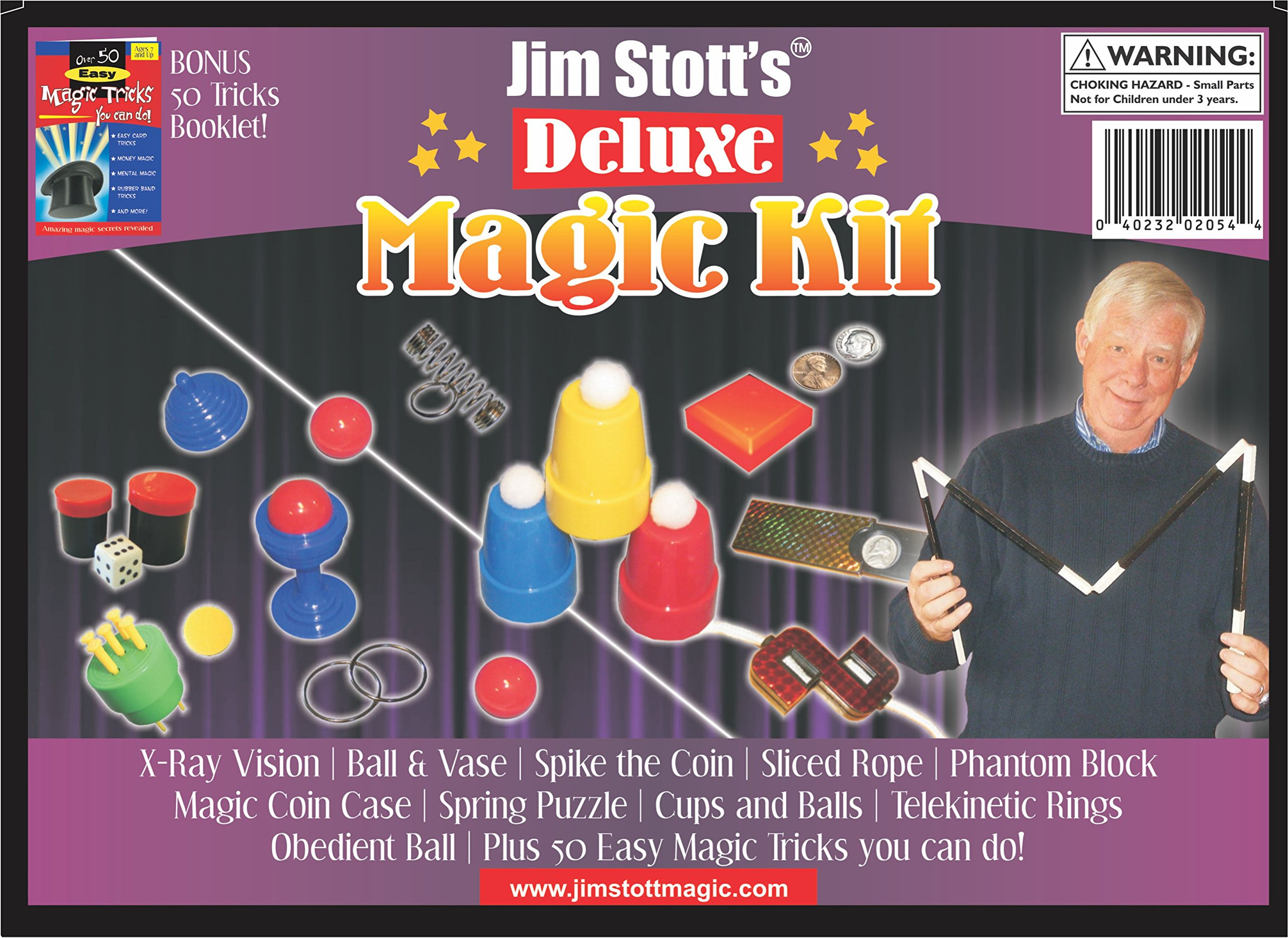 Jim Stott's 'Deluxe Magic Kit' for Kids, Magic Tricks Set for Girls and Boys, Ball and Vase, X-Ray Vision, Spike the Coin, Ring and Spring, Sliced Rope, Magic Coin Case, and Obedient Ball by Jim Stott Magic (Image #1)