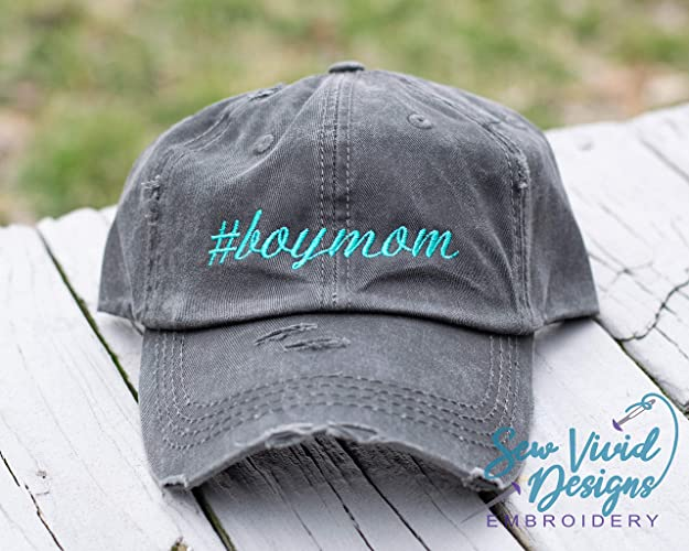 281db0f0d59 Amazon.com: #boymom Distressed High Ponytail Baseball or Trucker Hat Boy Mom  Personalized Cap: Handmade