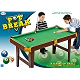 Pot Break Wooden Pool Table with 2 Cues, Balls, Triangle, Brush and Chalk