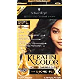 Schwarzkopf Keratin Color, Color & Moisture Permanent Hair Color Cream, 1.0 Jet Black (Pack of 1)
