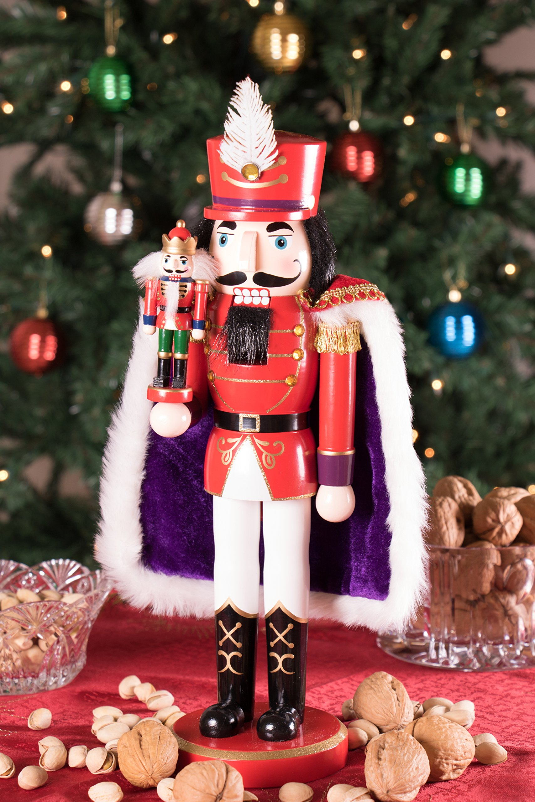 Clever Creations Red Prince Wooden Nutcracker Wearing Purple Cape Holding Toy Nutcracker Gift | Festive Decor | Perfect for Shelves and Tables | 100% Wood | 14'' Tall by Clever Creations (Image #2)