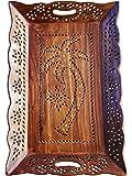 Madera Bandeja para servir, con el embutido del diseño del árbol de Trabajo bandeja 15X9.5 pulgadas, la bandeja decorativo,, cocina Bandeja para servir, regalo para la Navidad o de cumpleaños