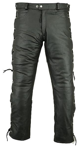 2e8f681fb128 RIDEX Mens Motorbike Biker Motorcycle Cowhide Leather Trouser Jeans - Side  Laces (W32L32) Black