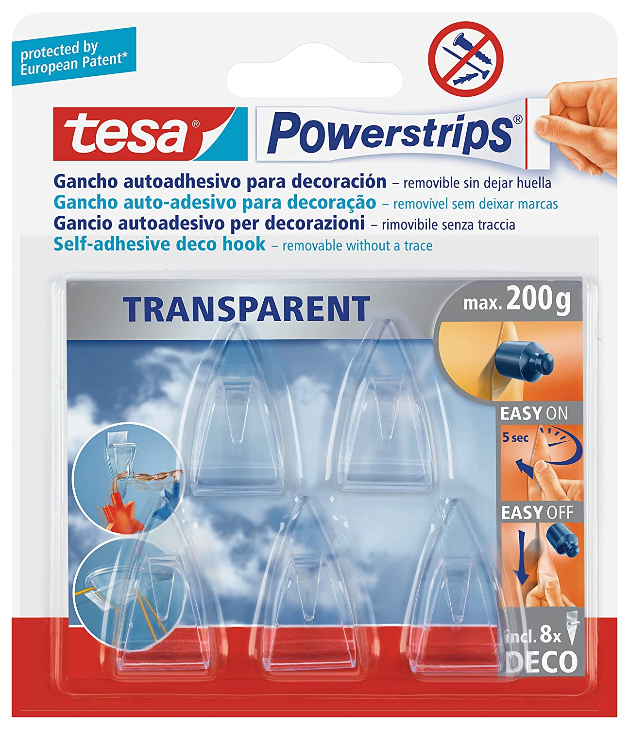 tesa UK Powerstrips Deco Clear Hooks with Removable Adhesive Strips, 5 Hooks 58900-00013-03