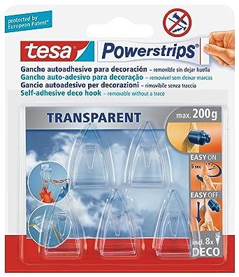 Tesa Powerstrips Deco Haken Transparent Für Max 200g Packung Mit