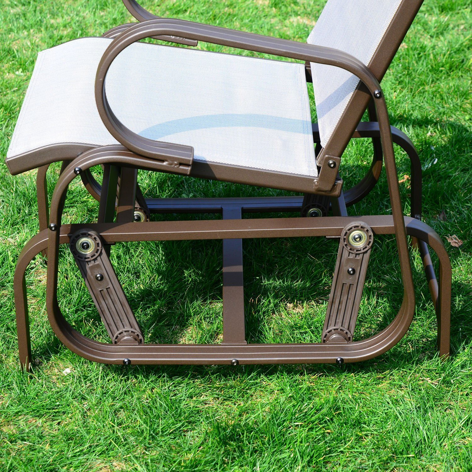 Amazon.com : Outsunny Outdoor Mesh Fabric Patio Glider Chair   Brown And  Beige : Garden U0026 Outdoor