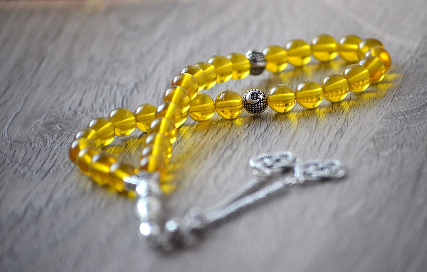 Handmade Dominican Crystal Clear Yellow Blue Amber Prayer Beads, Worry Beads, Rosary, Kehribar Tasbih (Genuine,%100 Original Amber Beads)