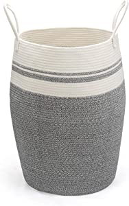 Xl Large Dirty Clothes Hamper for Laundry, Tall Round Woven Storage Basket for Bedroom/Bathroom, Clothing Hampers Corner Variegated Grey