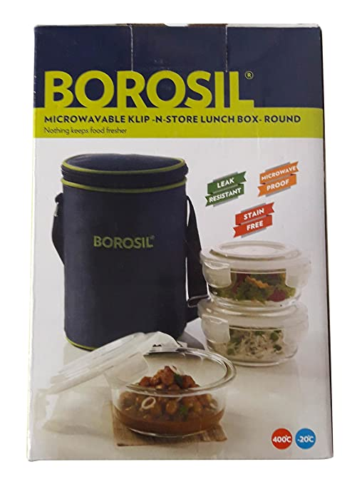 Borosil Klip N Store Microwavable 3 Containers Lunch Box   Round Jars   Containers