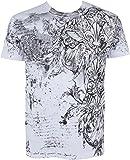 Sakkas - Camiseta de hombre con manga corta y decorado plateado metálico