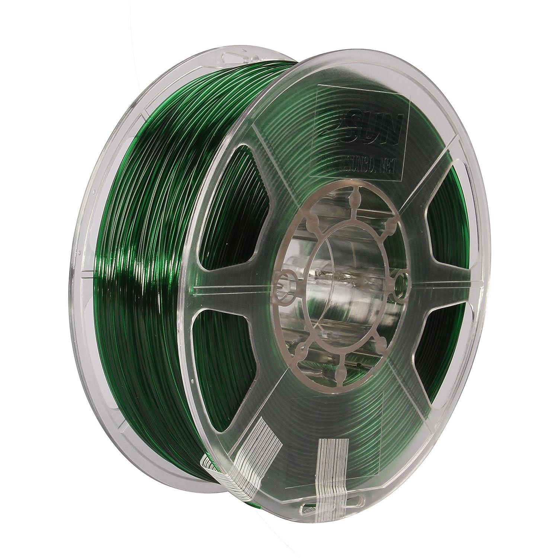 eSUN 3D 1.75mm PETG Green Filament 1kg (2.2lb), PETG 3D Printer Filament, Dimensional Accuracy +/- 0.03 mm, Semi-Transparent 1.75mm Green