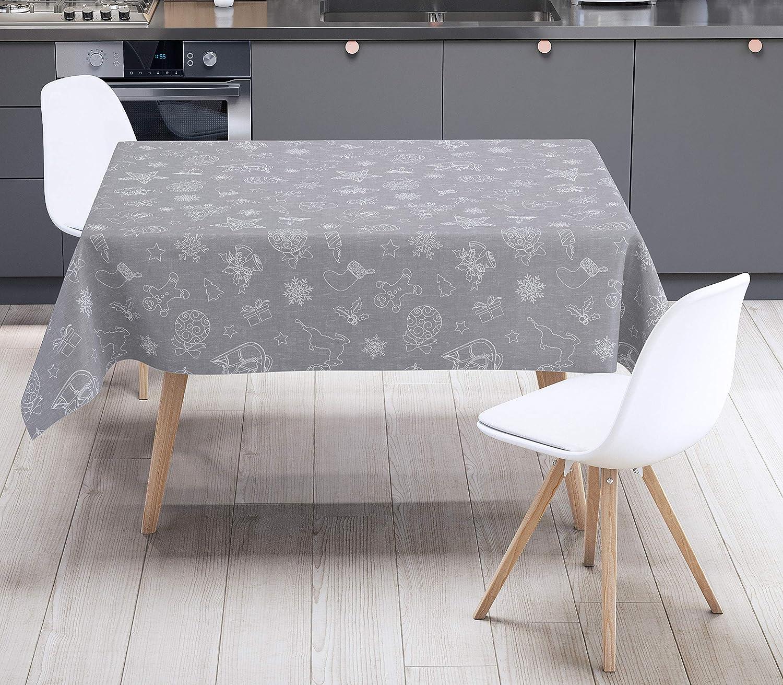 Karina Home Christmas Festive Grey Linen Look Wipe Clean Tablecloth Vinyl PVC Round 138cm