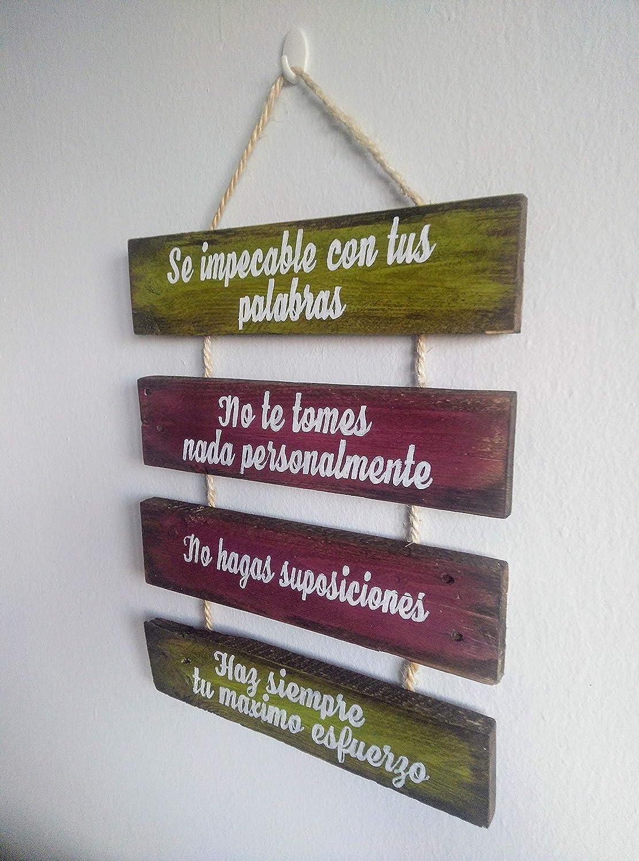 Letrero de madera escrito, Los 4 acuerdos toltecas, cartel ...