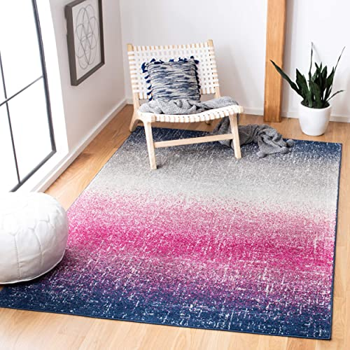 Safavieh Madison Collection MAD601M Fuchsia and Navy Bohemian Chic Striped Area Rug 8 x 10