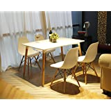 GIA White Armless Side Dining Chair (Set of 4) - Eames Style - Nature Wooden Leg - Seat Height 18 inch - Weight Capacity of 300+ Pounds - Easy Assembly - Quick Clean - Extra Durable and Comfortable